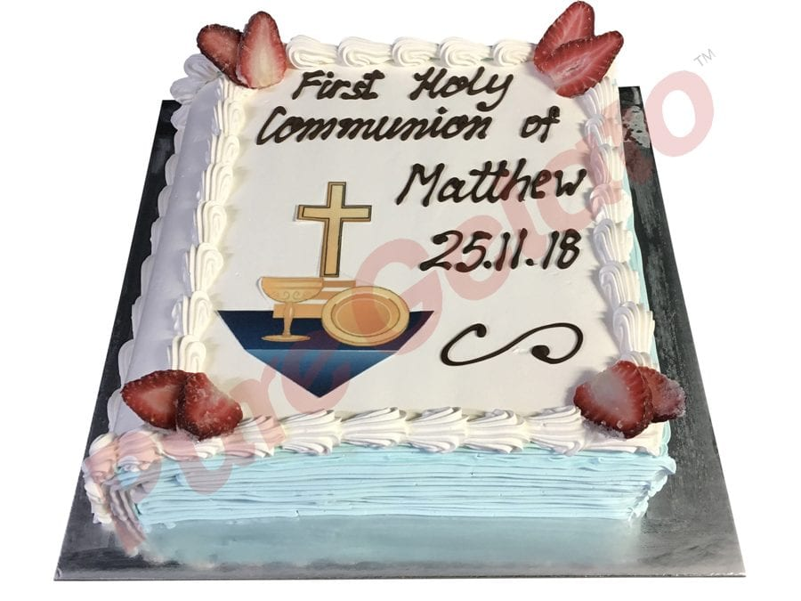 Closed bible Communion Cake Blue pages+navy cross image