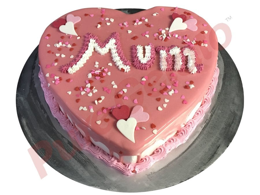 Heart Cake pink choc drip pink piping+heart sprinkles