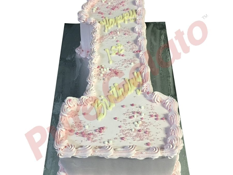 Numeral Cake 1 baby pink smooth Cream+piping+pink Sprinkles