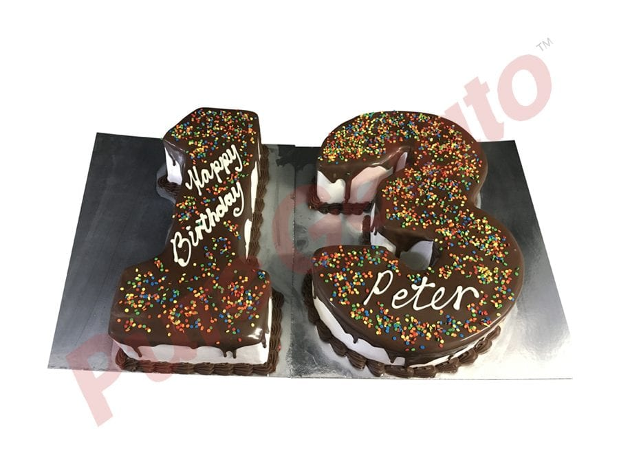 Numeral Cake 13 Choc Drip+Piping sprinkles all over