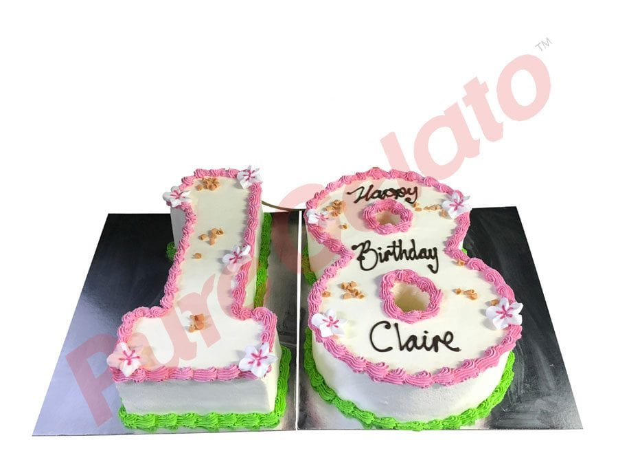 NUMERAL CAKE 18 SMOOTH CREAM PINK+GREEN PIPING+FRANGIPANIS