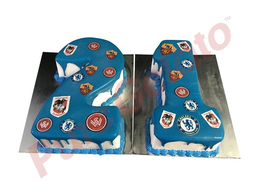 Numeral Cake 21 Blue Choc-Drip piping+Sports logos