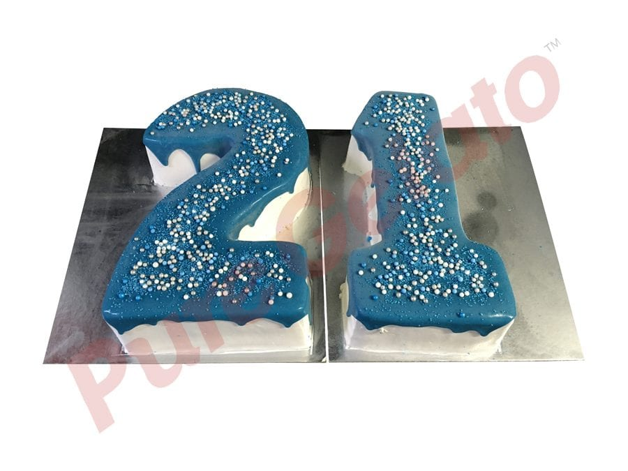 Numeral Cake 21 Blue Choc-Drip+Assorted sprinkles on top