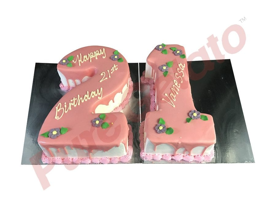 Numeral Cake 21 light pink Choc Drip+Piping Purple flowers