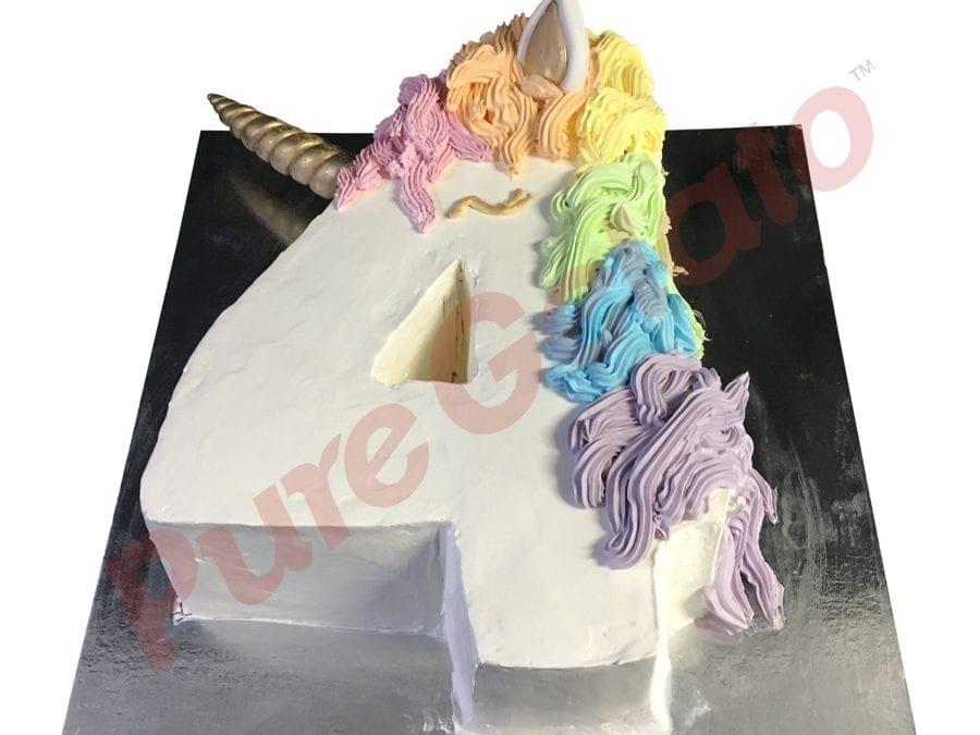 Numeral Cake 4 unicorn White Smooth Cream+coloured Piping