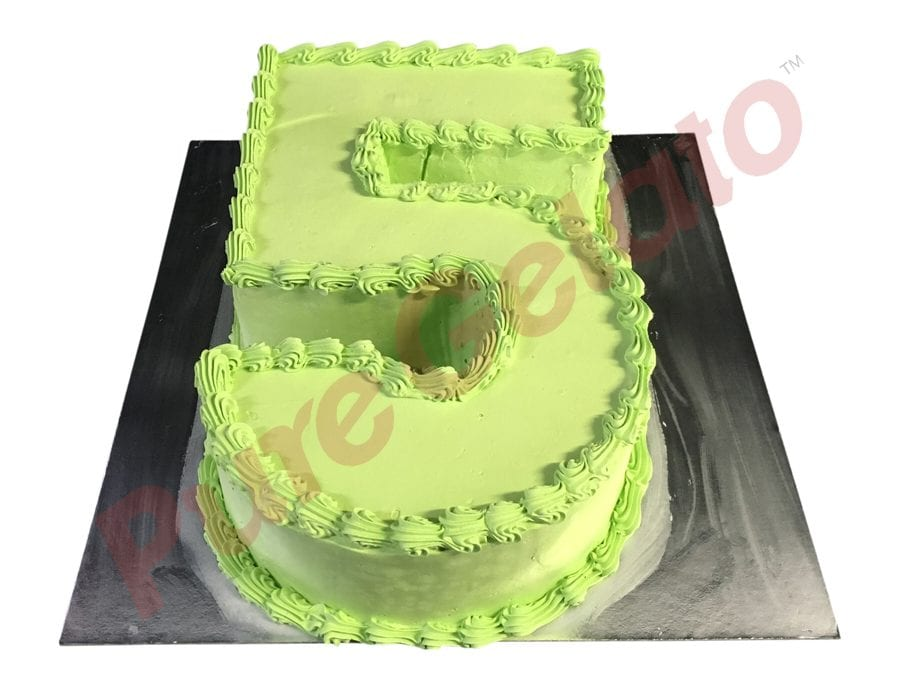 Numeral Cake 5 Green Smooth Cream and piping