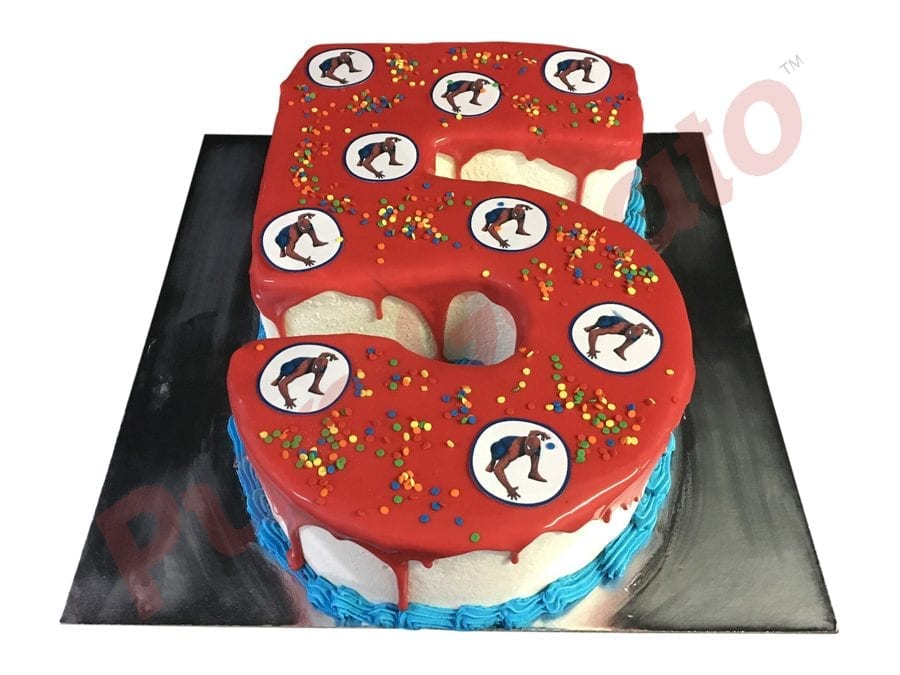 Numeral Cake 5 Red Choc Drip Spider Man Images+Sprinkles