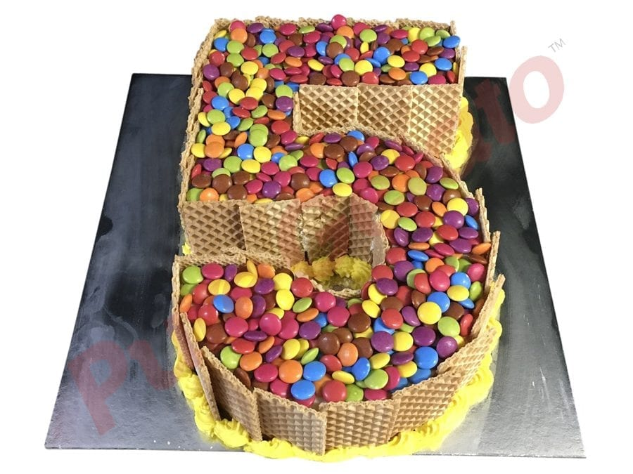 Numeral Cake 5 Wafer Sides+Smarties on top