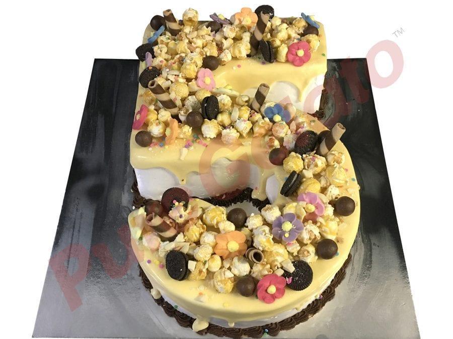 Numeral Cake 5 white Choc Drip Cluster Choc piping