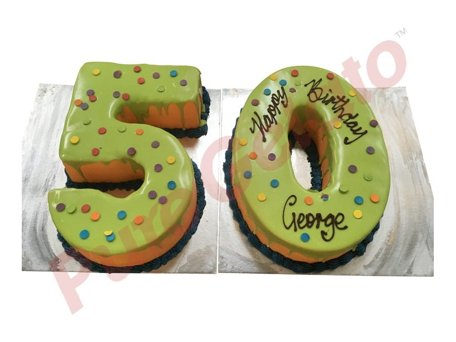 Numeral Cake 50 Green Choc-Drip Orange Cream+Dot sprinkles on top