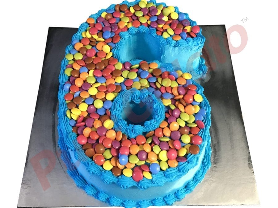 Numeral Cake 6 Blue Smooth Cream piping+Smarties
