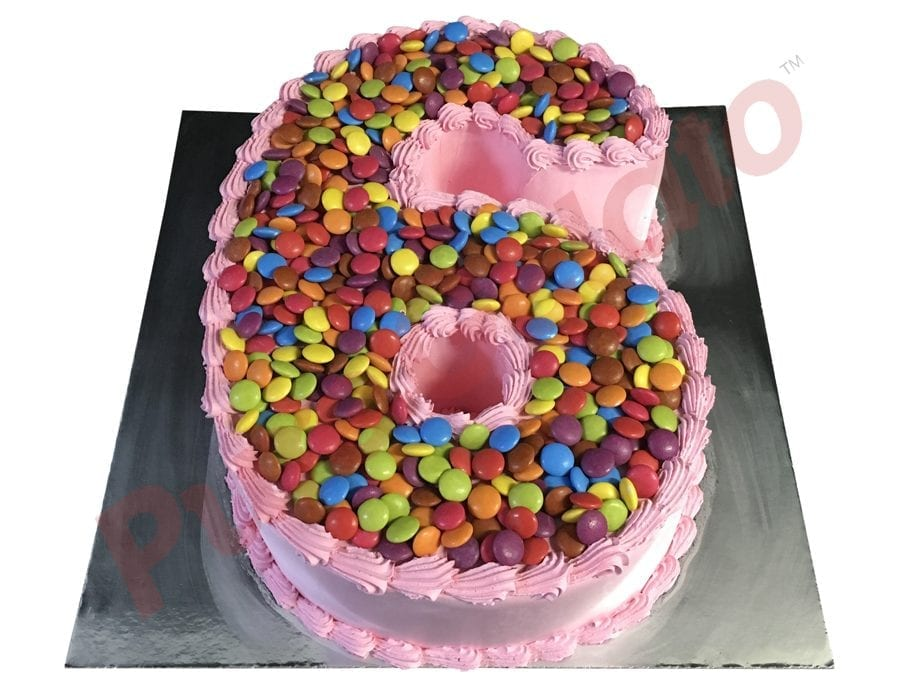Numeral Cake 6 Pink Smooth Cream piping+Smarties