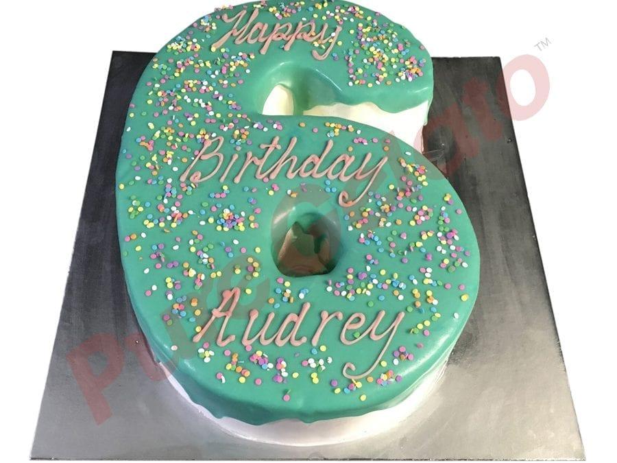 Numeral Cake 6 Teal Choc Drip+Sprinkles on top