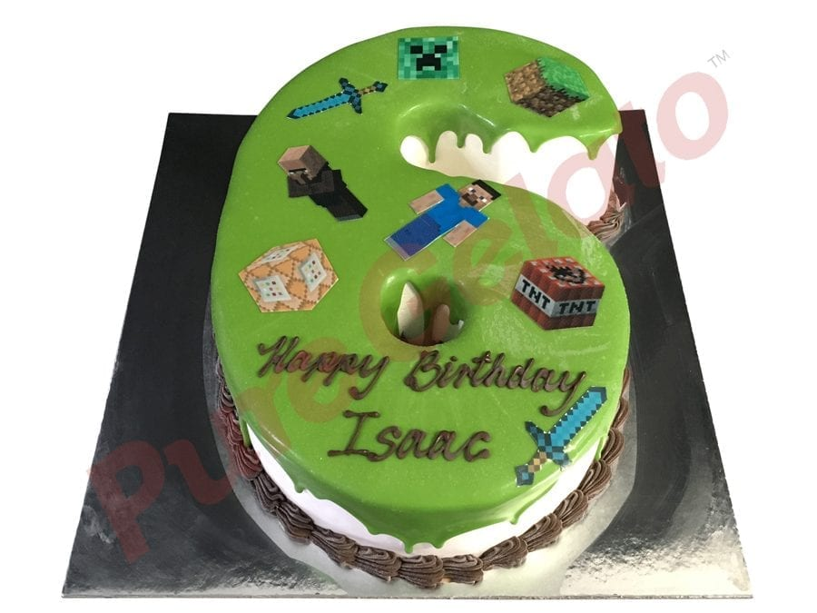 Numeral Cake 6 green Choc Drip Choc piping+minecraft images