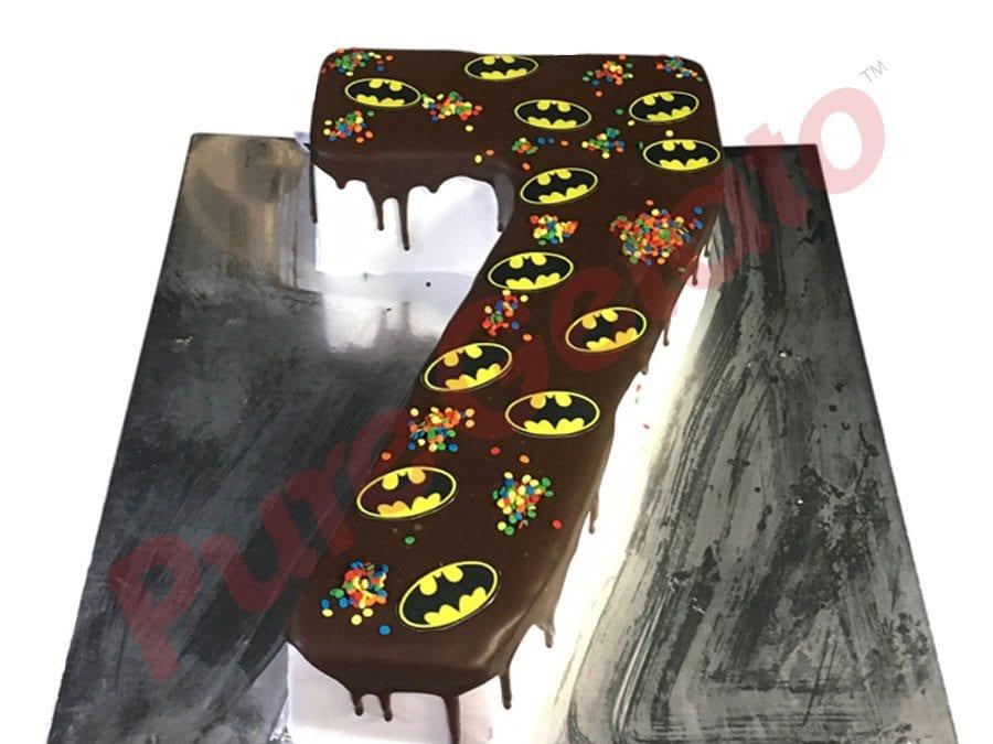 Numeral-Cake-7-Chocolate-drip-Batman-logo-sprinkles