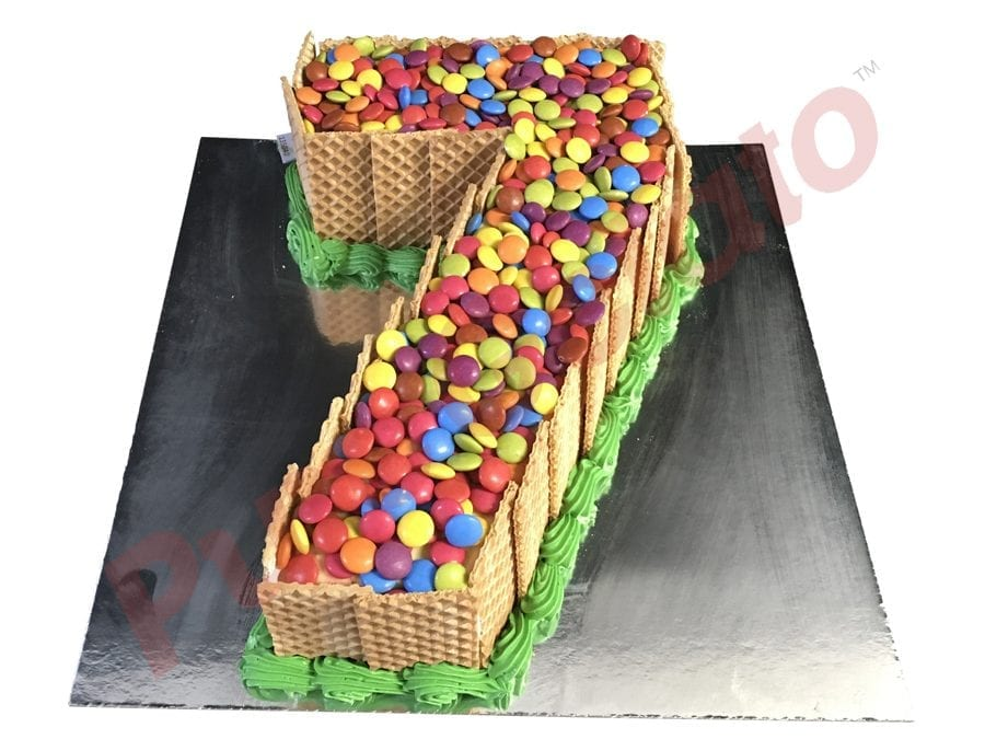 Numeral Cake 7 Wafer Sides+Smarties on top+green piping