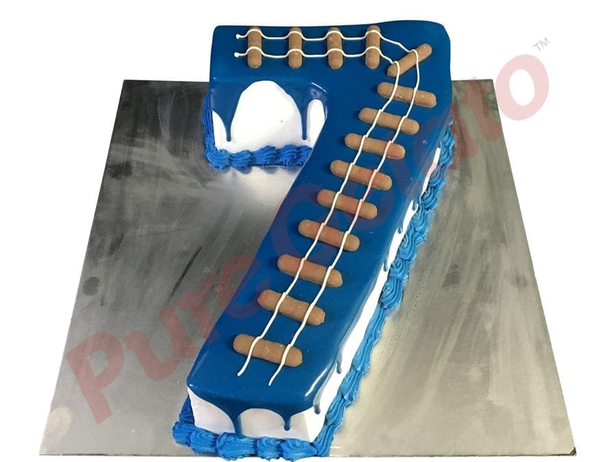 Numeral Cake 7 blue Choc Drip+train track