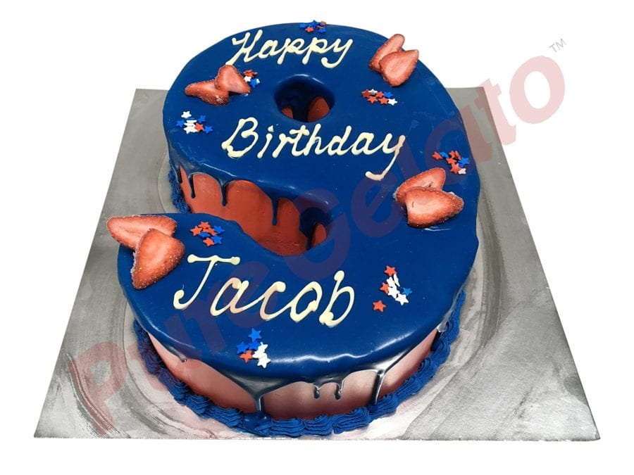 Numeral Cake 9 Dark Blue Choc Drip Red Cream