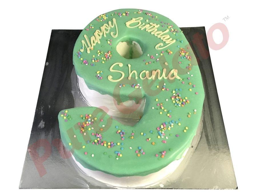 Numeral Cake 9 Teal Choc Drip+Sprinkles