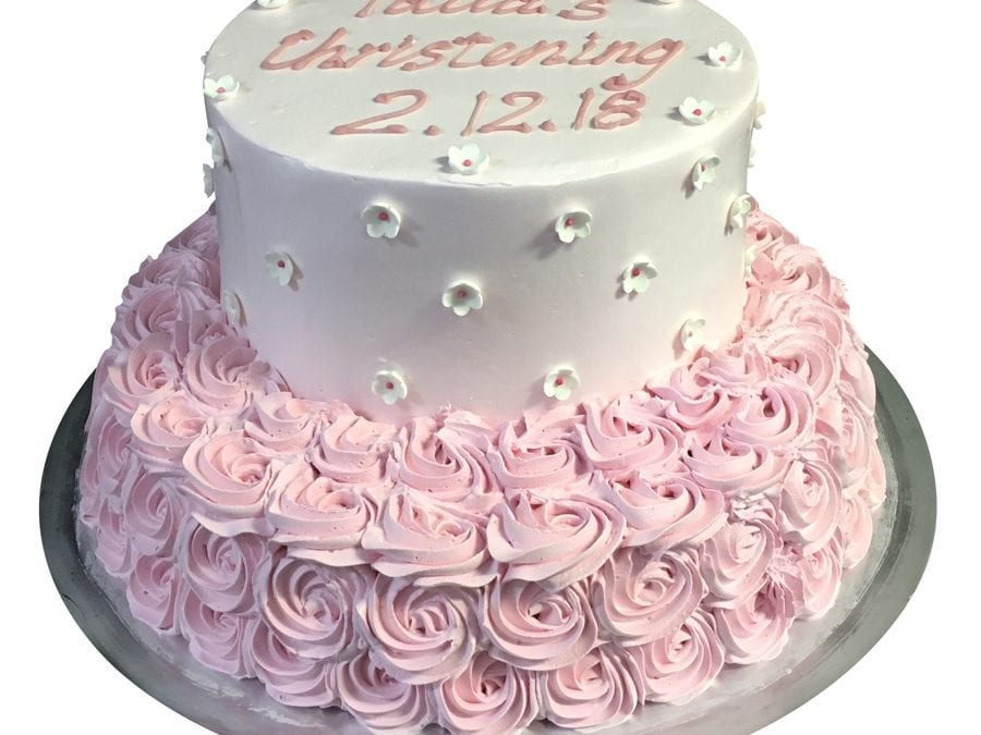 smooth baby pink Cream 2-tier stack pink rosettes bottom tier