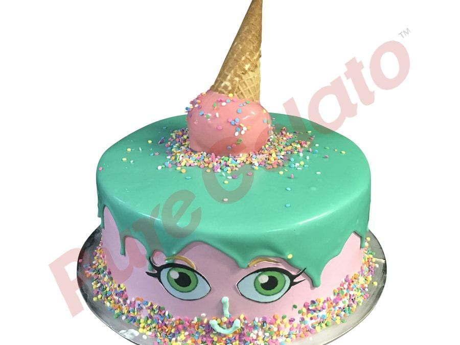 SHOPKINS FACE DOUBLE STACK+UPSIDE-DOWN CONE Teal+Pink+sprinkles