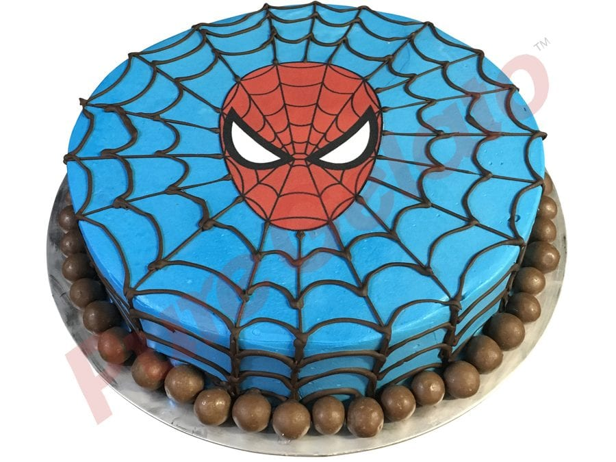 SPIDERMAN WEB FACE GELATO CAKE WITH Maltesers