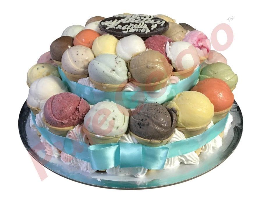 Scoop Cake 2 tier teal ribbon