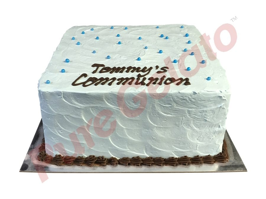 Spatula Cream Finish Double Stack Square Baby Blue+Choc piping