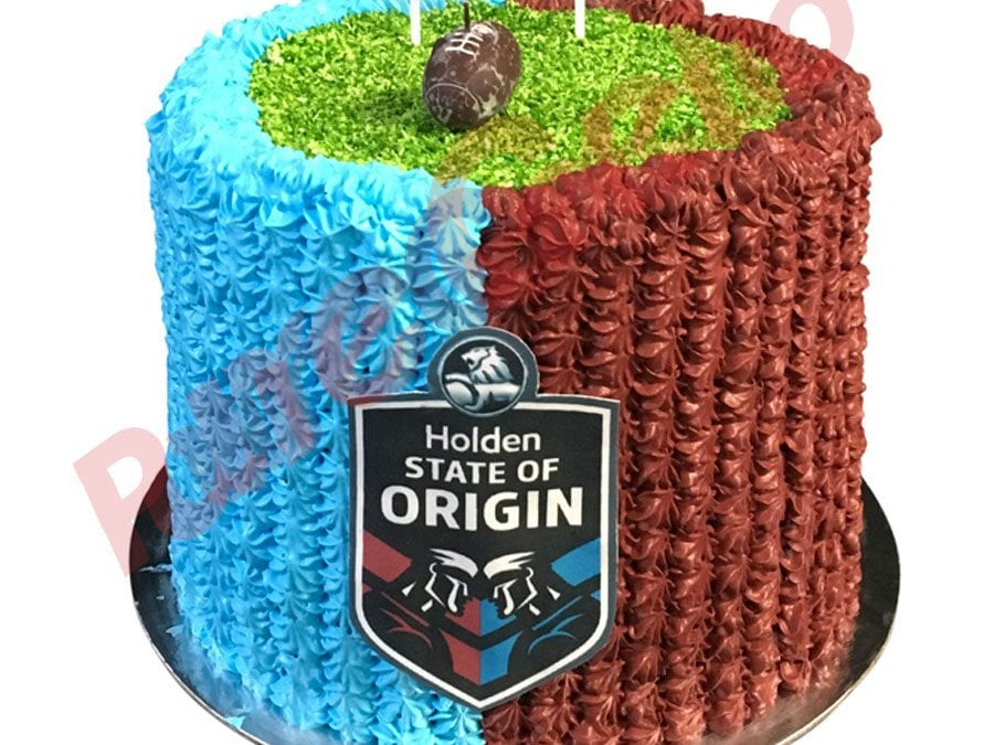 Sports-field-Cake-NRL-triple-Stack-Blue+maroon-piping+logo