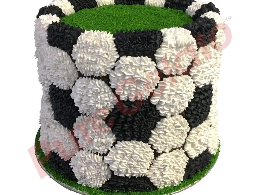 Sports-field-Cake-soccer-ball-field-triple-Stack-Black+white-cream-piping