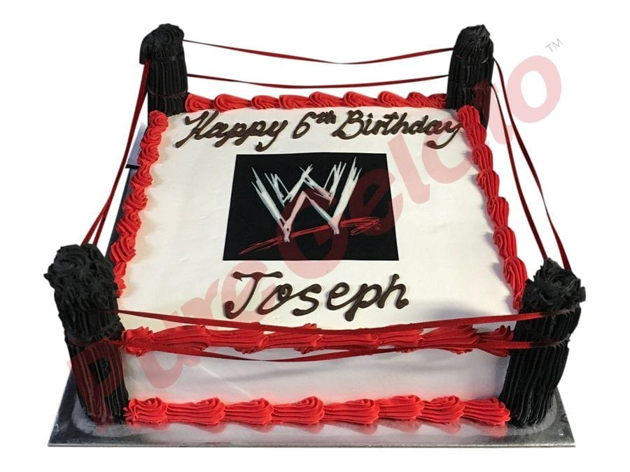 Sports-field-Westling-ring+WWE-logo-smooth-Cream-Red-piping