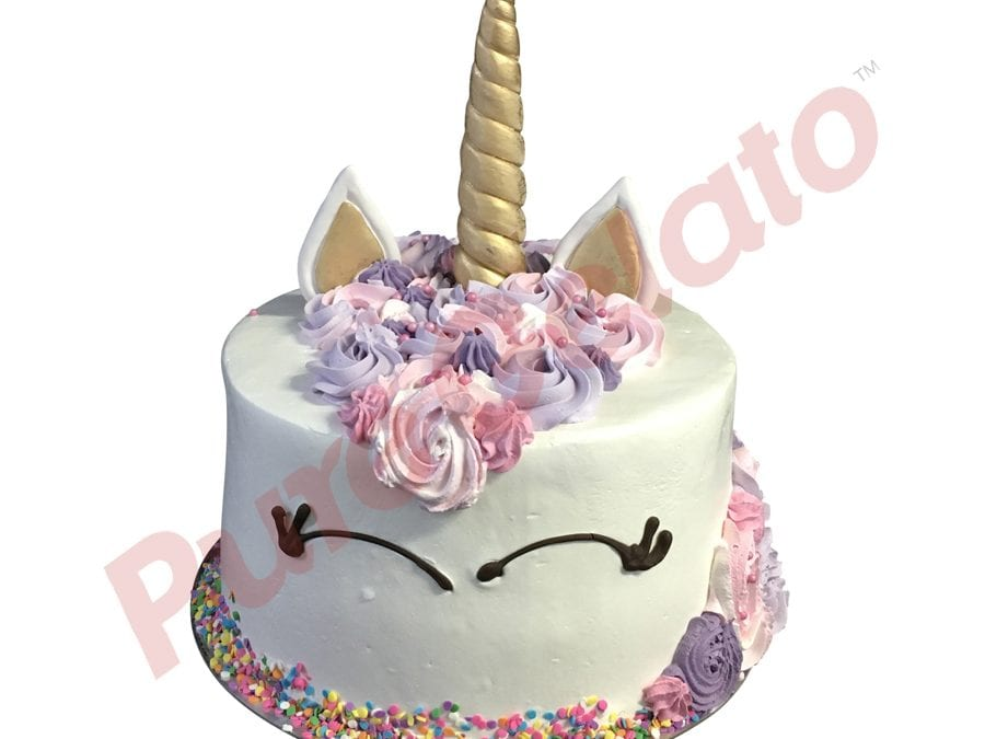 UNICORN FACE Double stack pastel Purple pink Colours+sprinkles