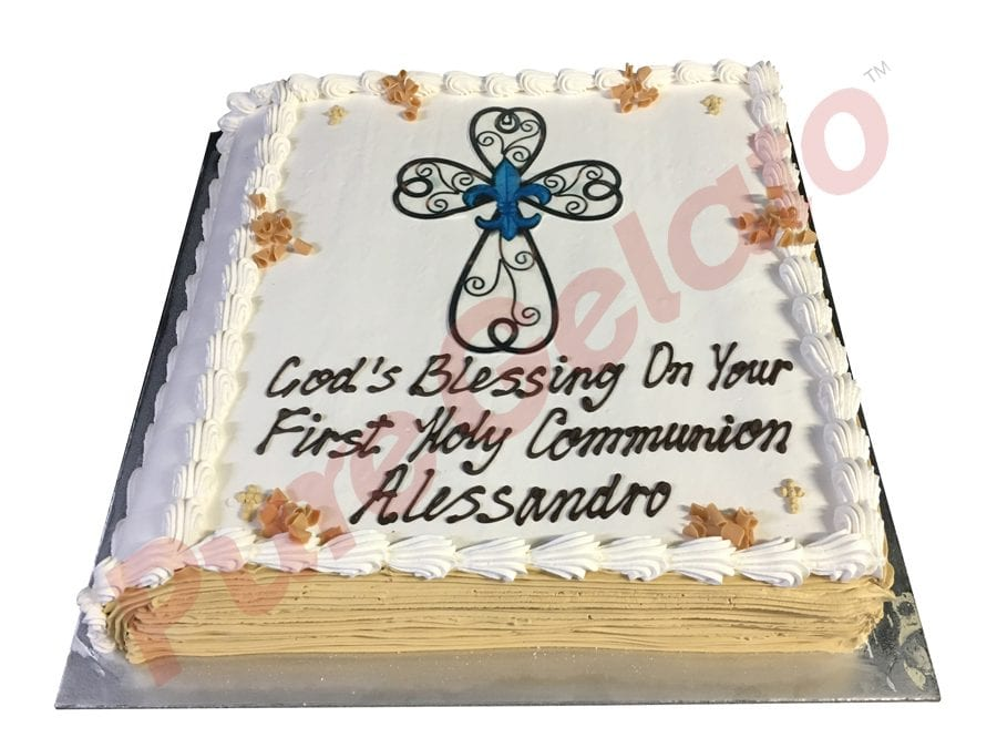 Communion cake closed bible gold pages+image