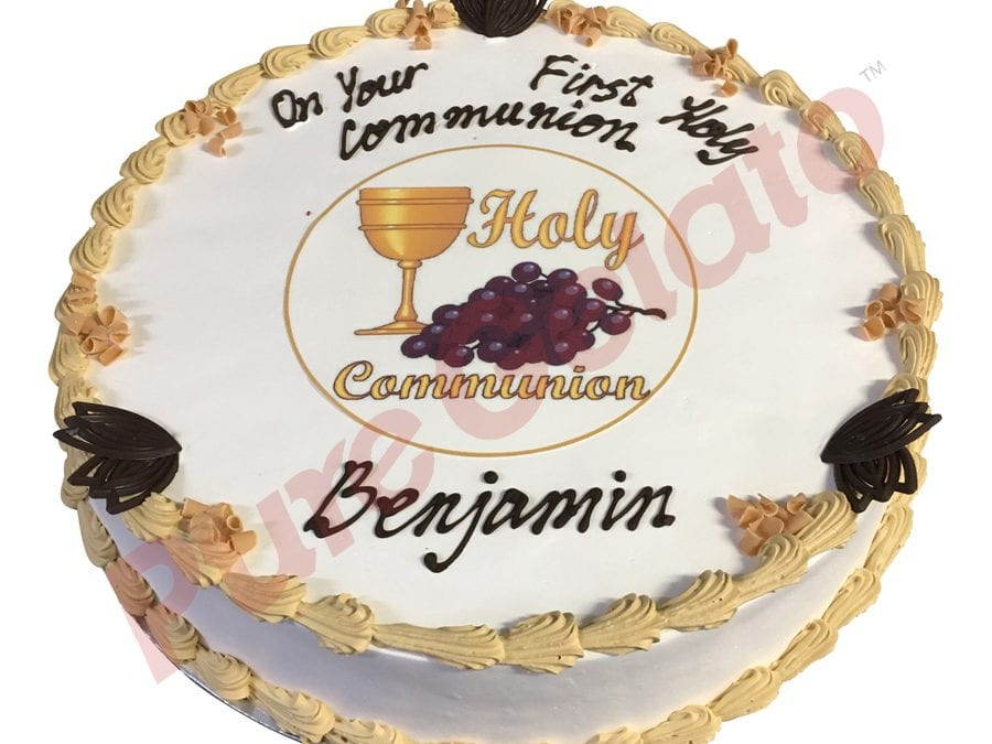 Communion cake smooth Cream gold piping+image