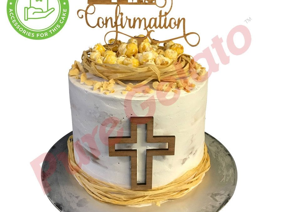 Confirmation cake Double Stack popcorn cluster+customer supplied acc