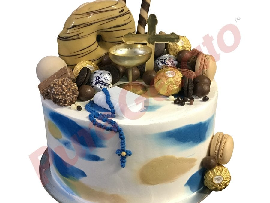 Confirmation cake double stack smooth Cream blue+gold finish donut cluster+religious kit