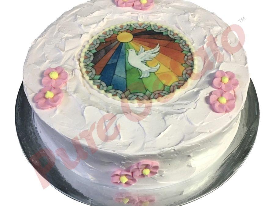 Confirmation cake light pink spatula finish+Image