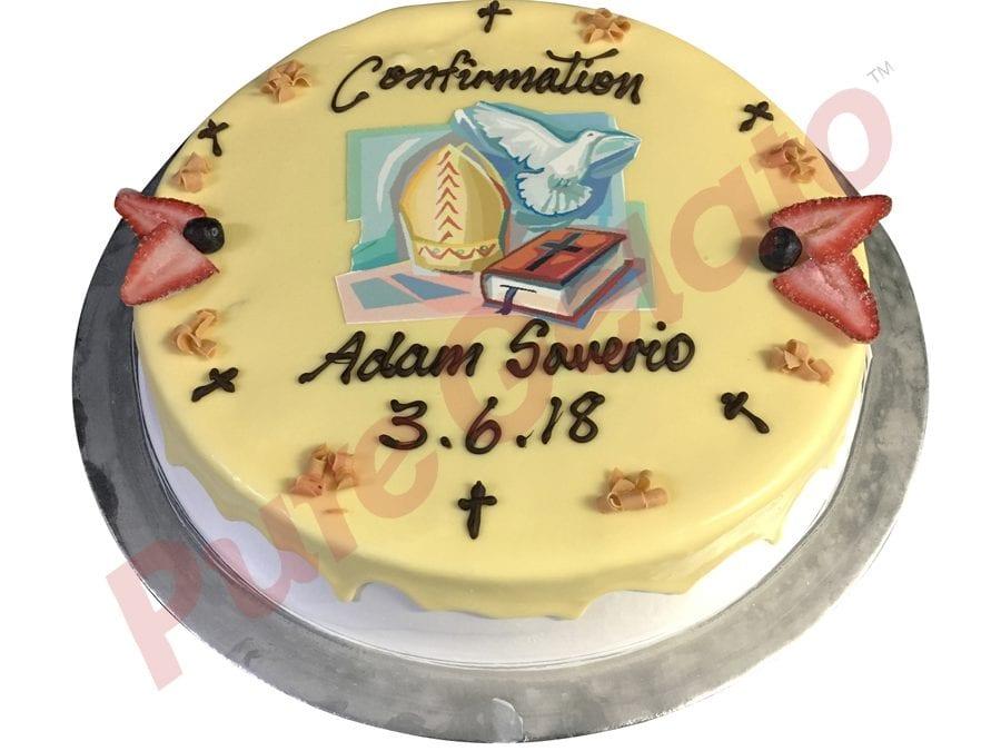 Confirmation cake white choc drip+image