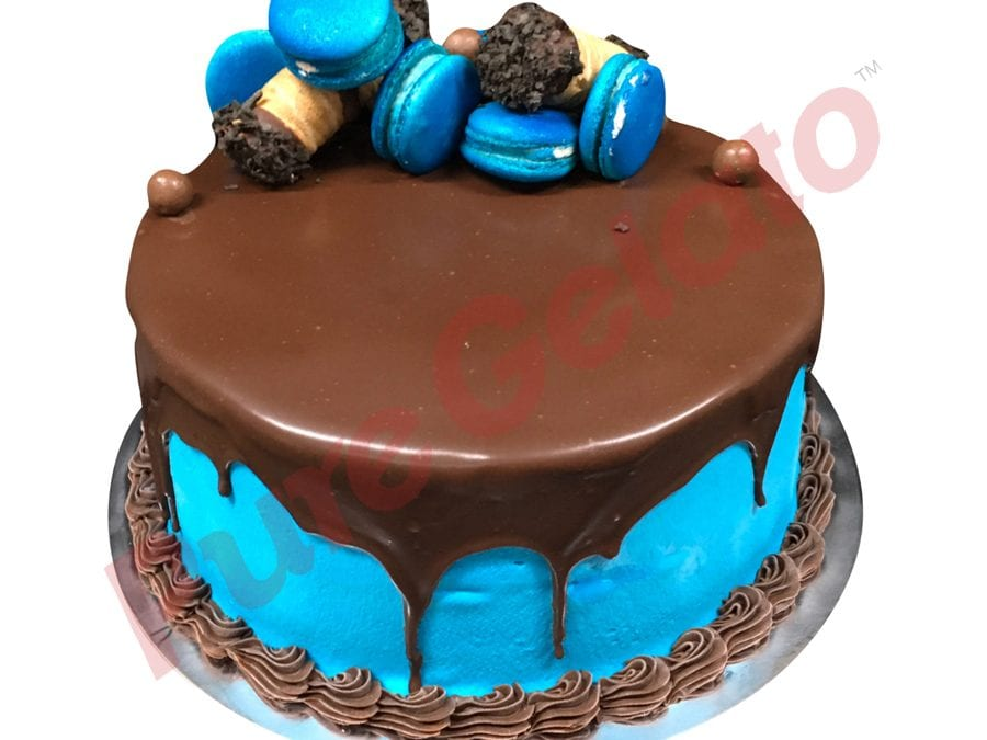 Double Stack Choc Drip blue Cream Cannoli+customer supplied macaroons