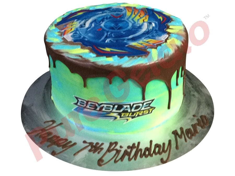 Double Stack Choc Drip green toned Cream beyblade themed