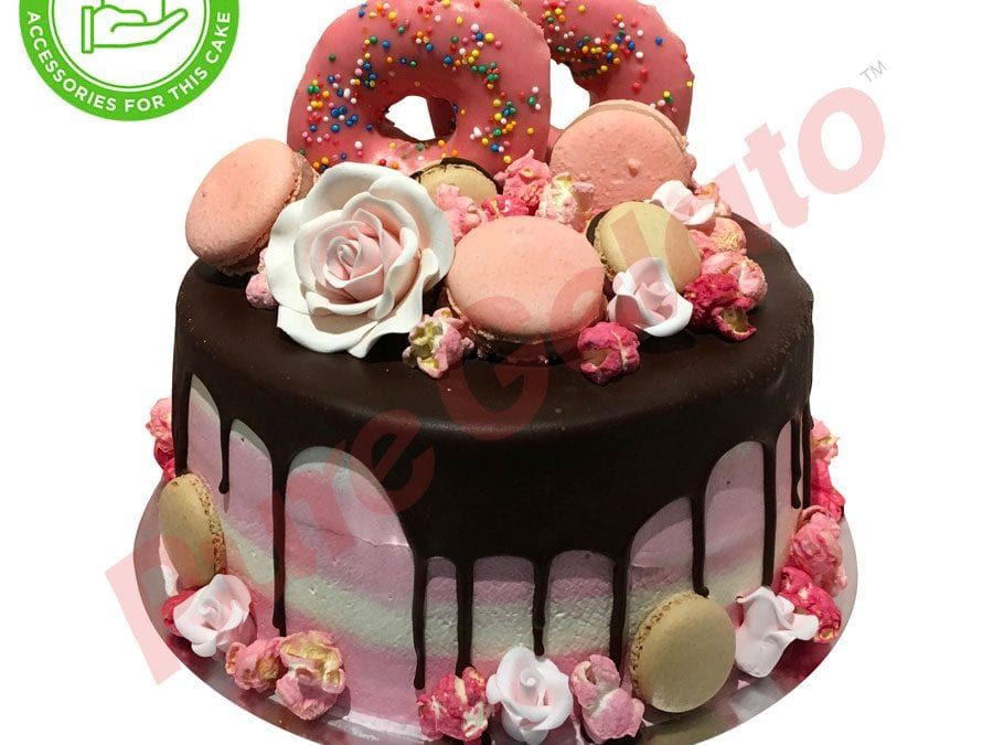 Double Stack Choc Drip pink+white Cream+Customer supplied acc
