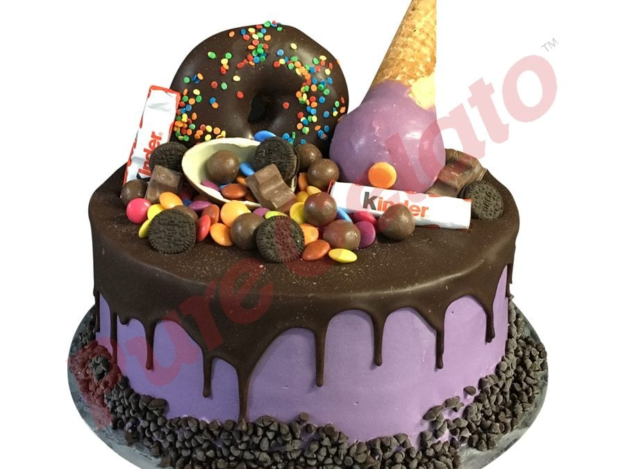Double Stack Choc Drip purple Cream upside down cone+donut choc cluster