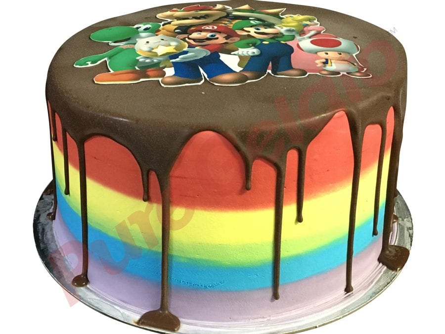 Double Stack Choc Drip rainbow Cream+Mario bros image