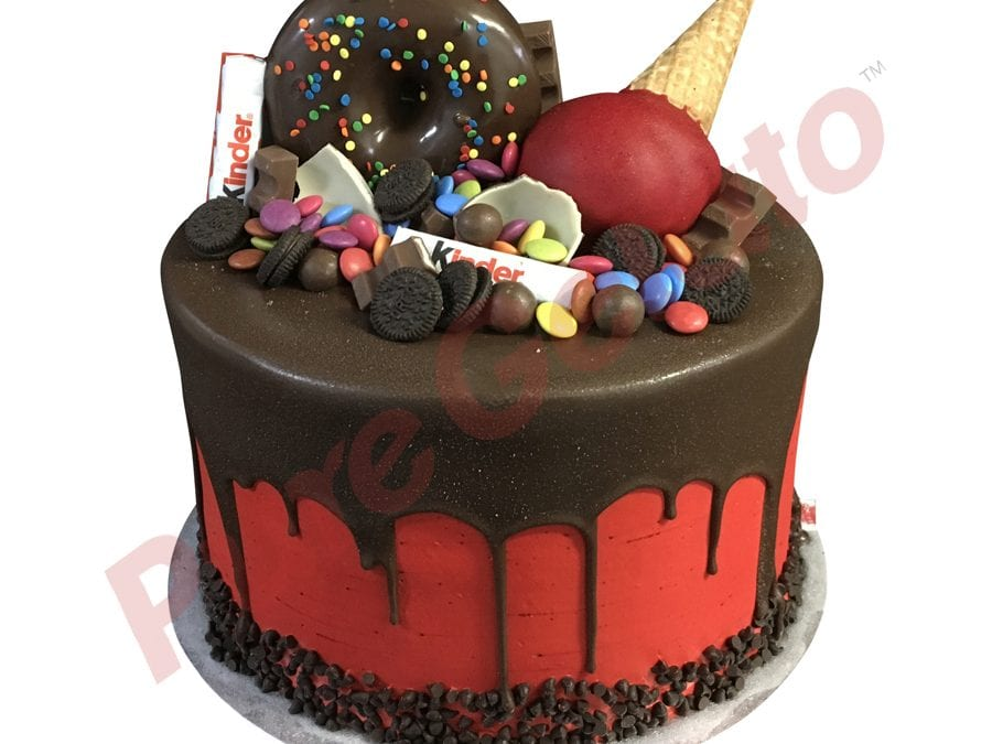 Double Stack Choc Drip red Cream upside down cone+donut choc cluster