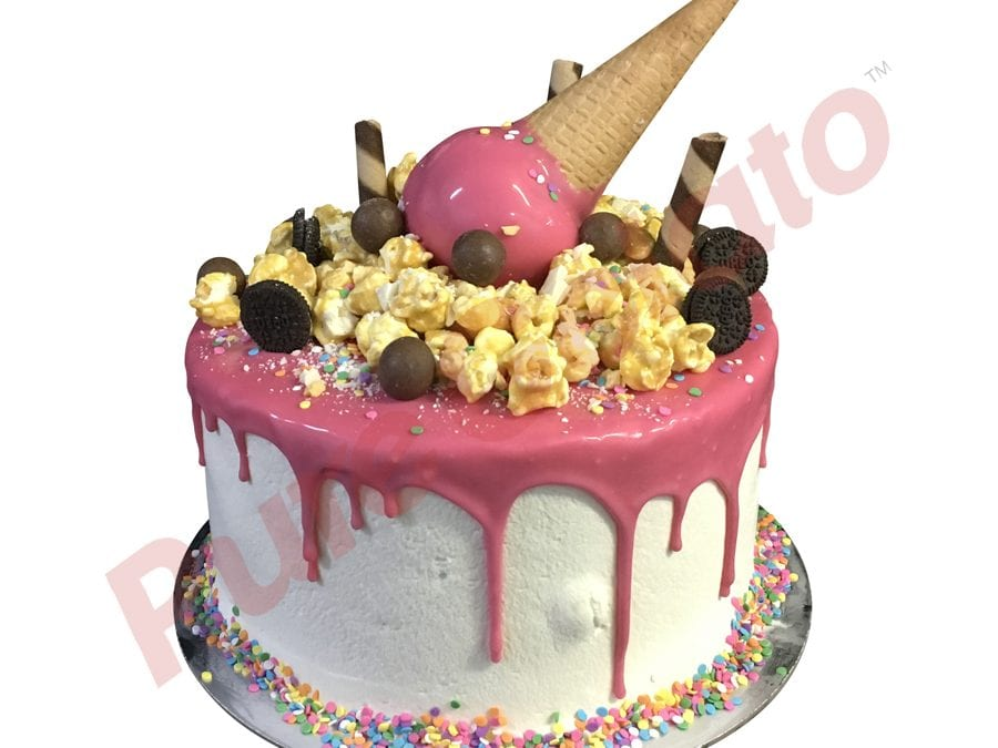 Double Stack hot pink Choc Drip upside down cone cluster+Sprinkles_