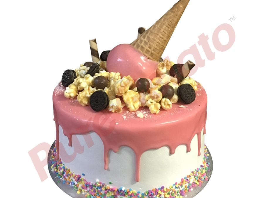 Double Stack pink Choc Drip upside down cone+cluster+Sprinkles_