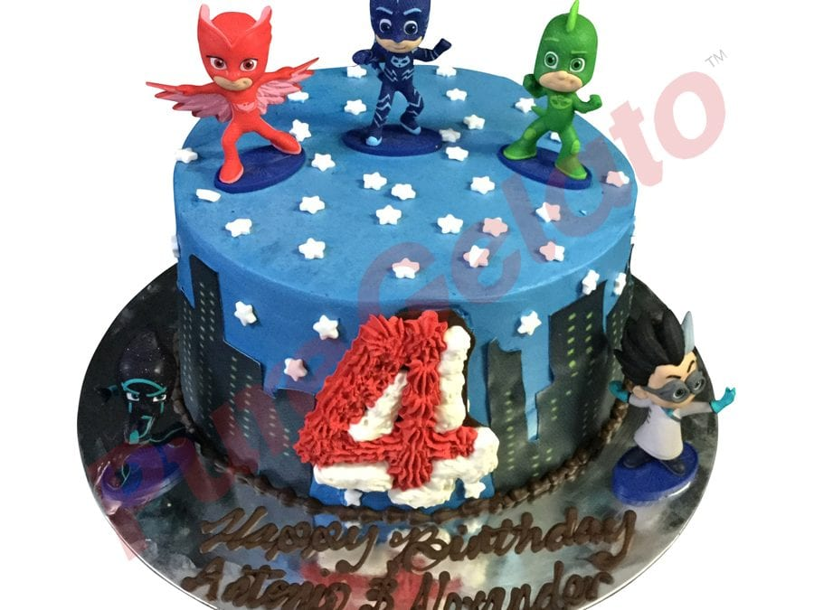 Double stack Blue smooth Cream pjmasks theme