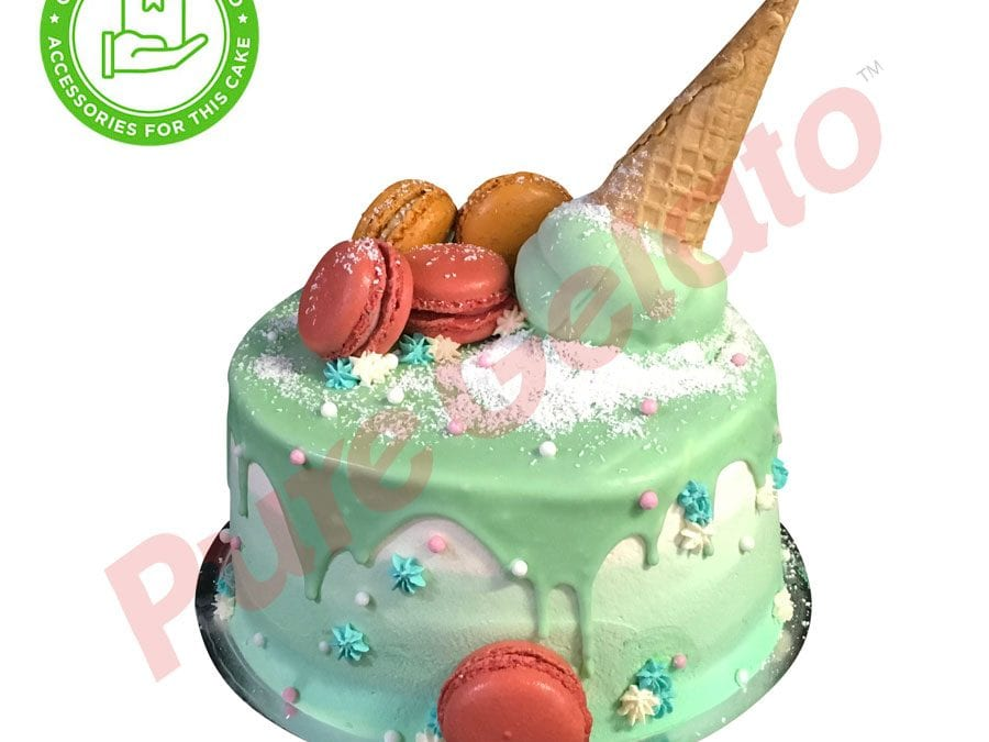 Double stack Green choc drip green toned cream upside down Cone+customers acc
