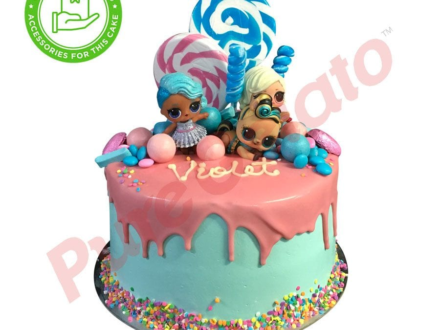 Double stack Pink choc drip teal cream sprinkles customers acc
