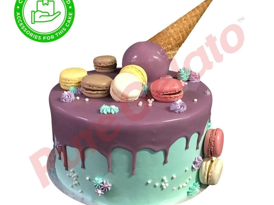 Double stack Purple choc drip green cream upside down Cone customer acc